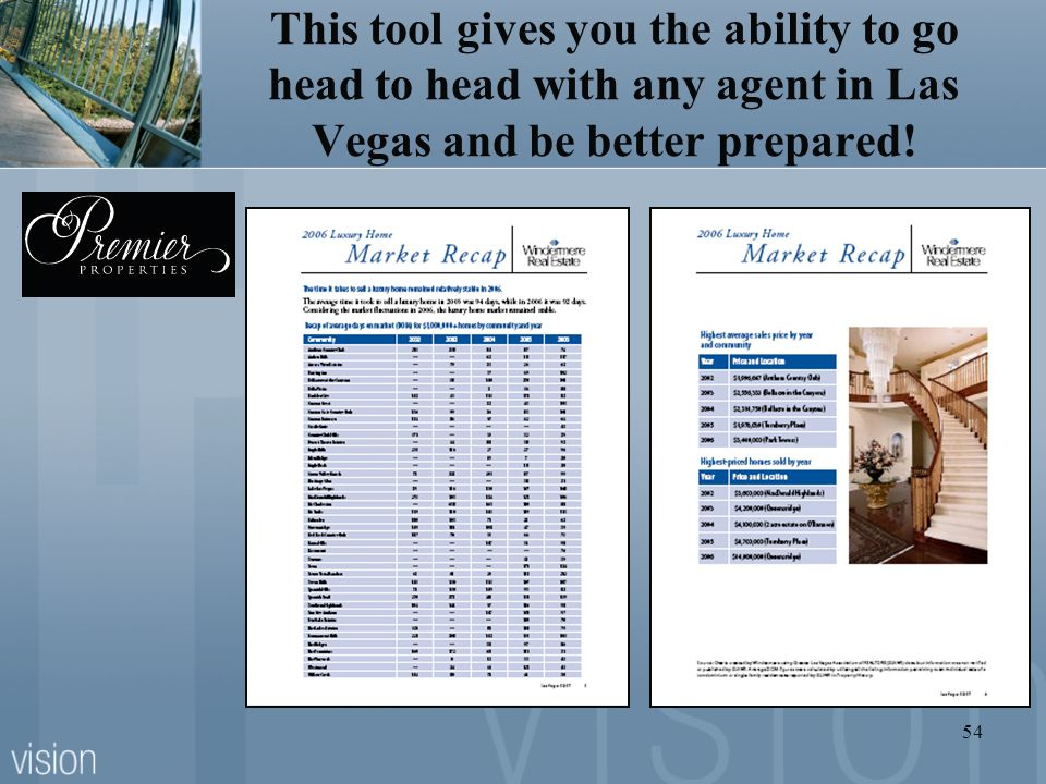54 This tool gives you the ability to go head to head with any agent in Las Vegas and be better prepared!