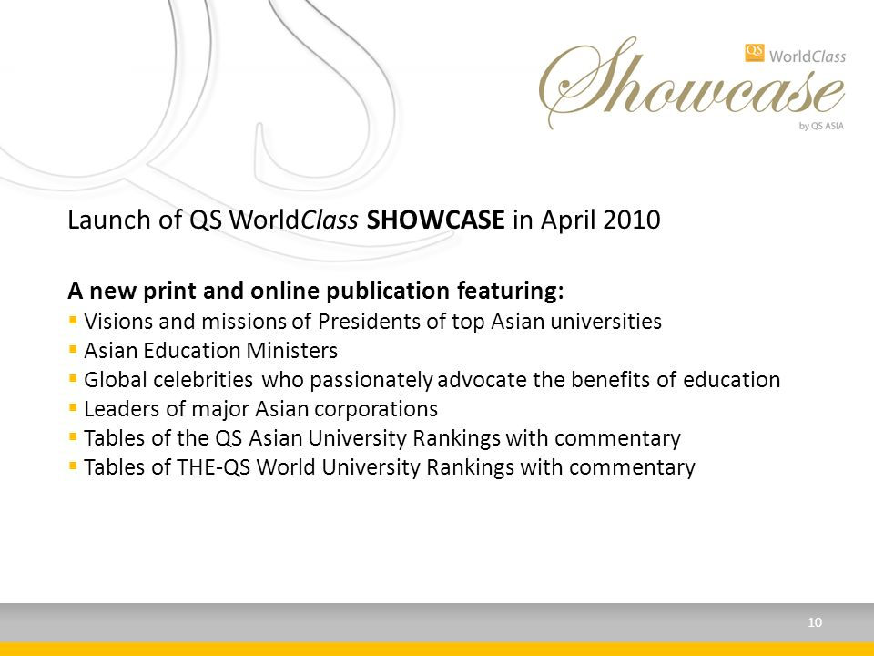 Launch of QS WorldClass SHOWCASE in April 2010 A new print and online publication featuring: Visions and missions of Presidents of top Asian universities Asian Education Ministers Global celebrities who passionately advocate the benefits of education Leaders of major Asian corporations Tables of the QS Asian University Rankings with commentary Tables of THE-QS World University Rankings with commentary 10