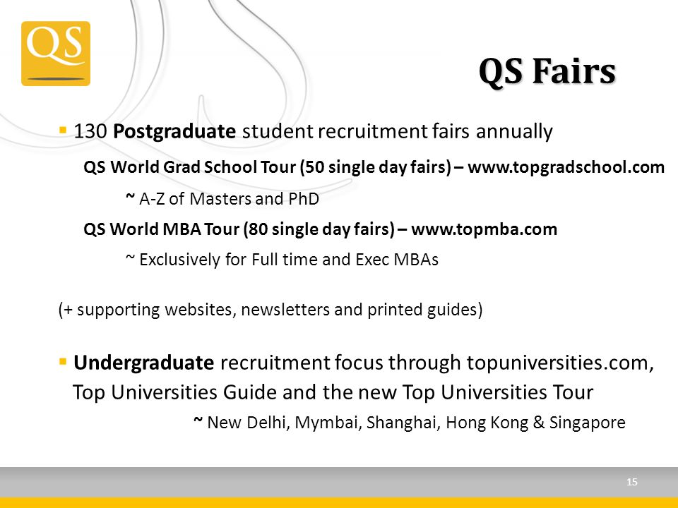QS Fairs 130 Postgraduate student recruitment fairs annually QS World Grad School Tour (50 single day fairs) – www.topgradschool.com ~ A-Z of Masters and PhD QS World MBA Tour (80 single day fairs) – www.topmba.com ~ Exclusively for Full time and Exec MBAs (+ supporting websites, newsletters and printed guides) Undergraduate recruitment focus through topuniversities.com, Top Universities Guide and the new Top Universities Tour ~ New Delhi, Mymbai, Shanghai, Hong Kong & Singapore 15