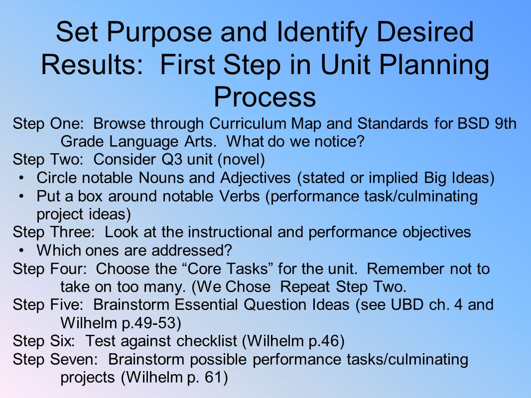 Set Purpose and Identify Desired Results: First Step in Unit Planning Process Step One: Browse through Curriculum Map and Standards for BSD 9th Grade