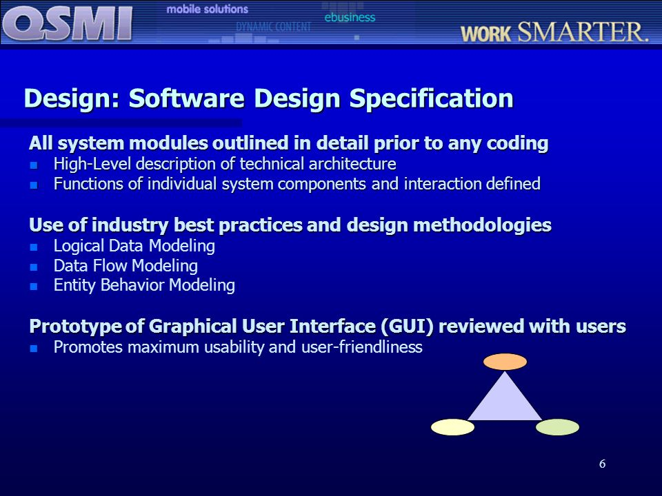 6 Design: Software Design Specification All system modules outlined in detail prior to any coding n High-Level description of technical architecture n