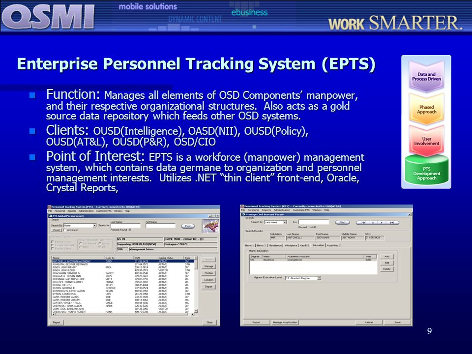 9 Enterprise Personnel Tracking System (EPTS) n Function: Manages all elements of OSD Components manpower, and their respective organizational structu