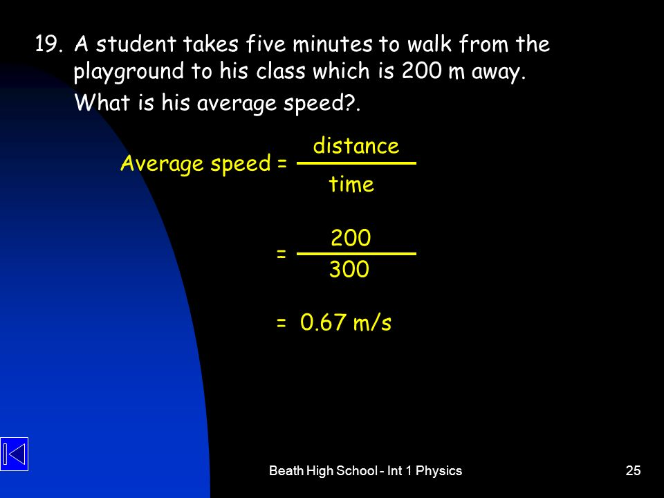 Beath High School - Int 1 Physics25 19.A student takes five minutes to walk from the playground to his class which is 200 m away. What is his average