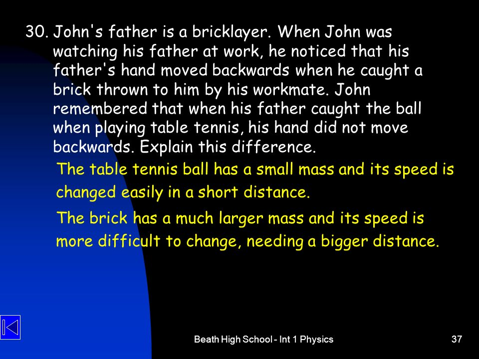 Beath High School - Int 1 Physics37 30.John's father is a bricklayer. When John was watching his father at work, he noticed that his father's hand mov