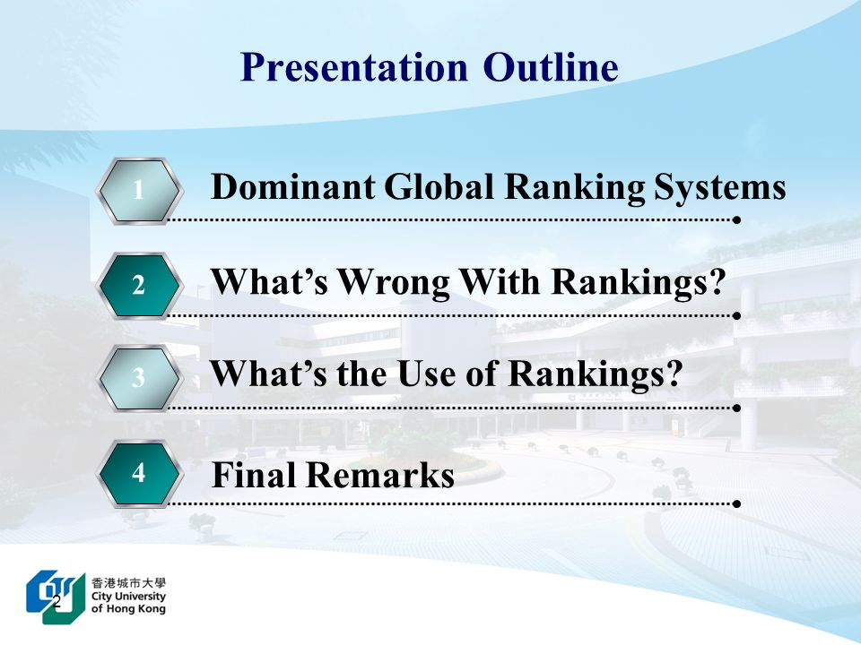 2 Presentation Outline 1 Whats Wrong With Rankings? 2 Whats the Use of Rankings? 33 Final Remarks 44 Dominant Global Ranking Systems
