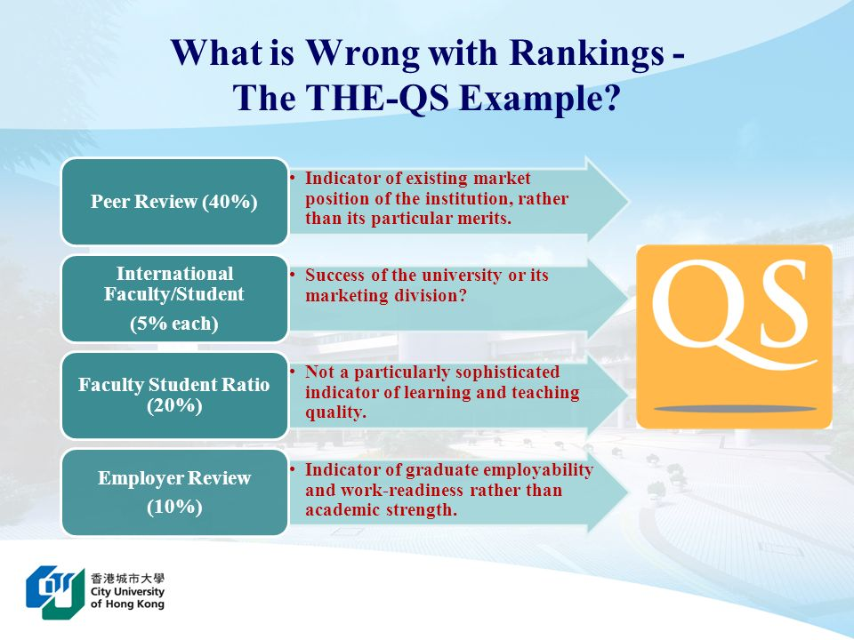 Rankings can be effective self- evaluation tools for universities to bring about practical positive strategic change which will benefit both stakeholders and students.