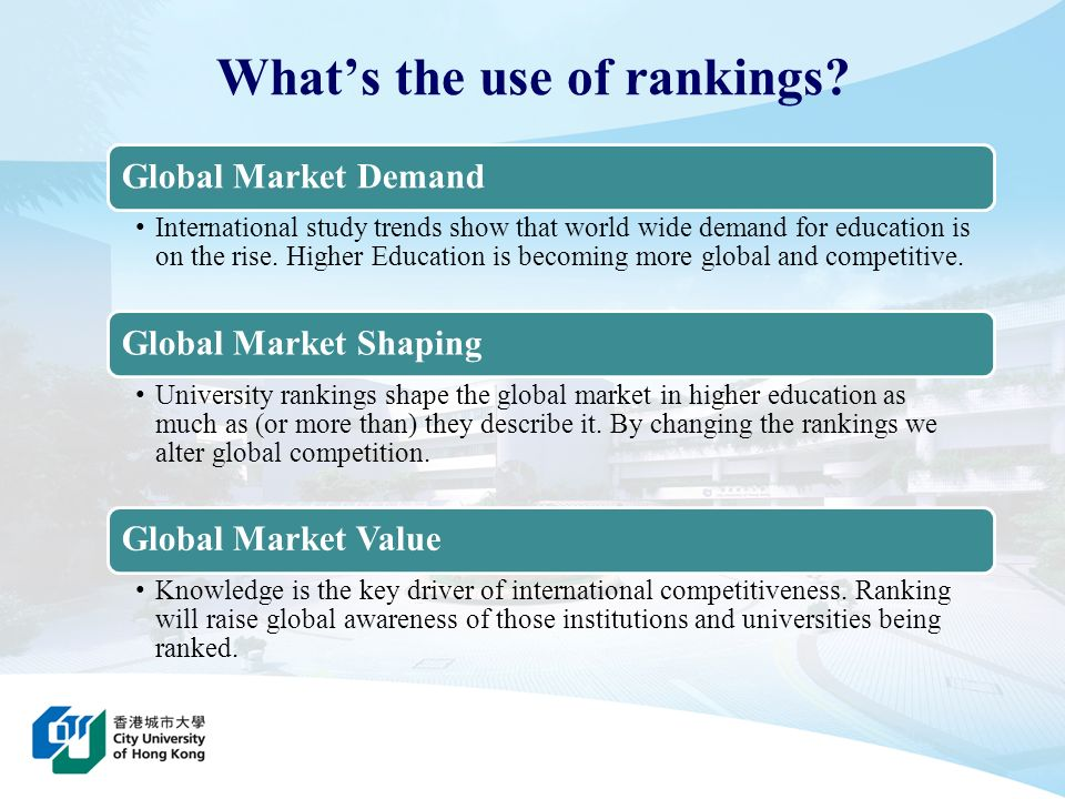 Whats the use of rankings? Global Market Demand International study trends show that world wide demand for education is on the rise. Higher Education