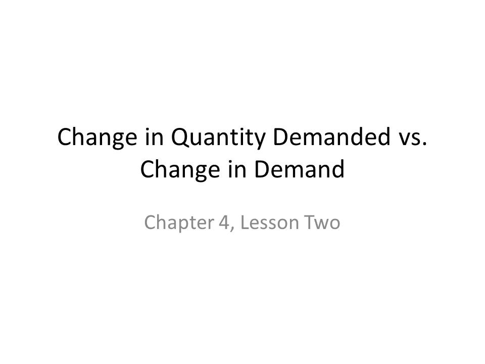 Change in Quantity Demanded vs. Change in Demand Chapter 4, Lesson Two