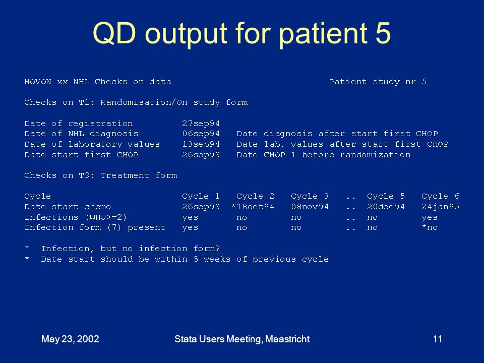 May 23, 2002Stata Users Meeting, Maastricht11 QD output for patient 5