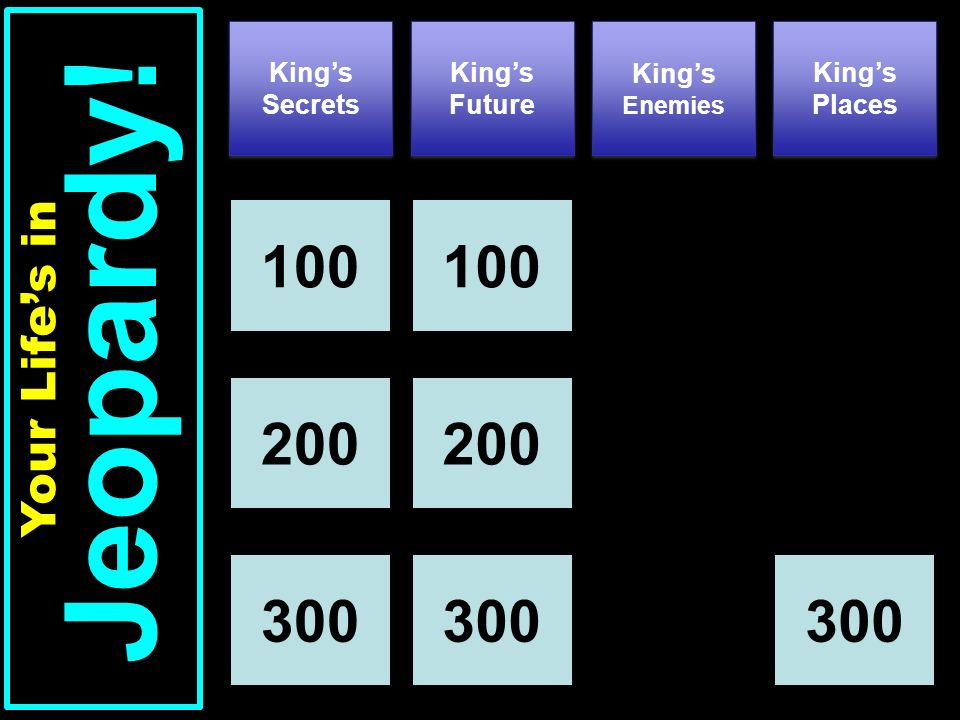 Kings Secrets Kings Future Kings Places 100 Your Lifes in Jeopardy! Kings Enemies 100 200 300