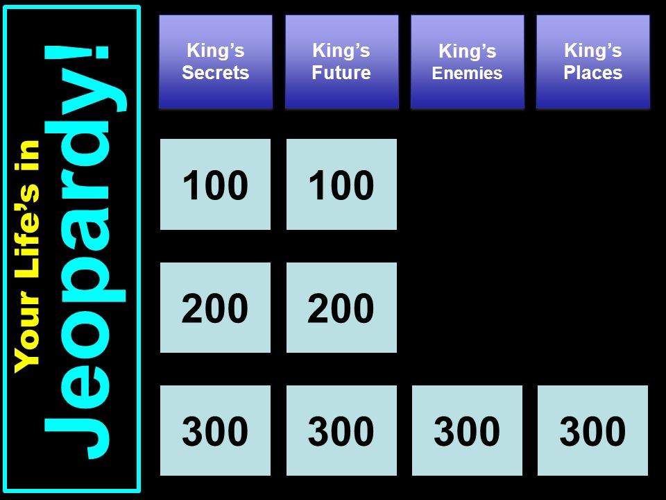 Kings Secrets Kings Future Kings Places 100 Your Lifes in Jeopardy.