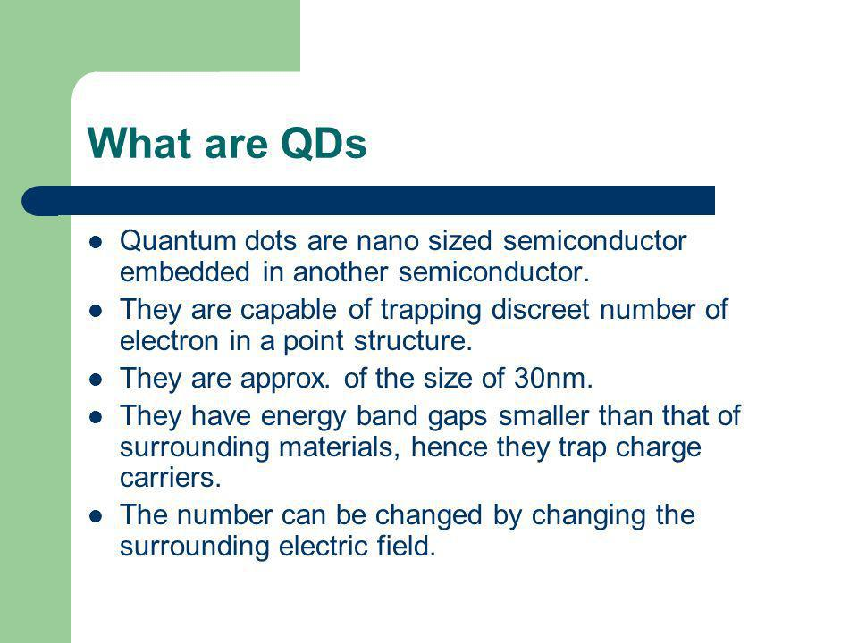 Types of Quantum Dots Quantum dots are basically of two types:- a) Gated quantum dots.