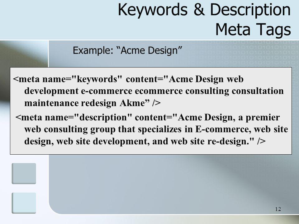 12 Keywords & Description Meta Tags Example: Acme Design