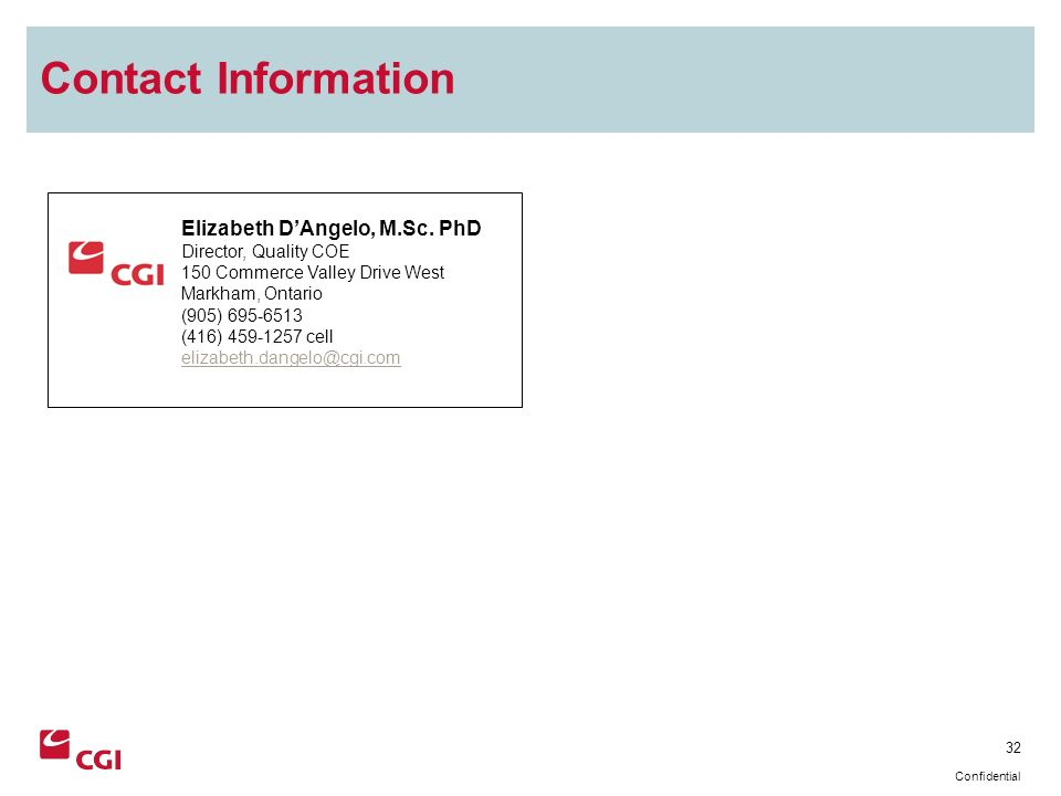 32 Confidential Contact Information Elizabeth DAngelo, M.Sc.