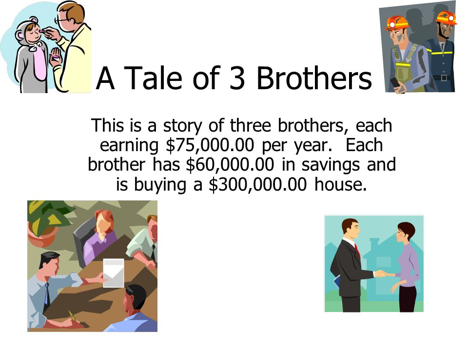 Brother A – believes in paying off the Mortgage as soon as he can.