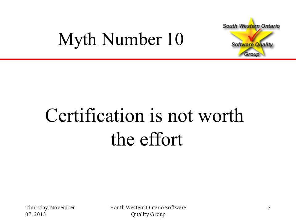 Thursday, November 07, 2013 44 Discussion and Questions Top Ten Myths