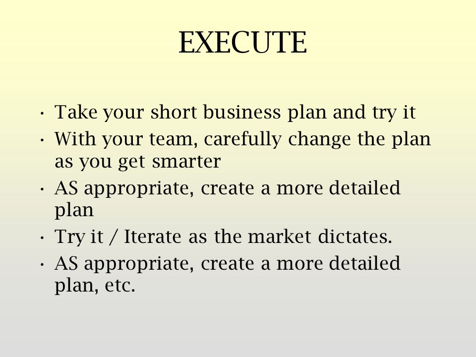 EXECUTE Take your short business plan and try it With your team, carefully change the plan as you get smarter AS appropriate, create a more detailed plan Try it / Iterate as the market dictates.