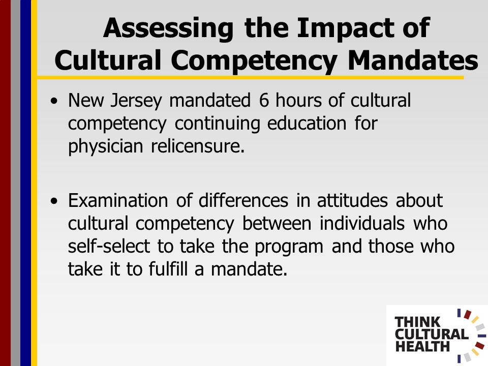 New Jersey mandated 6 hours of cultural competency continuing education for physician relicensure.