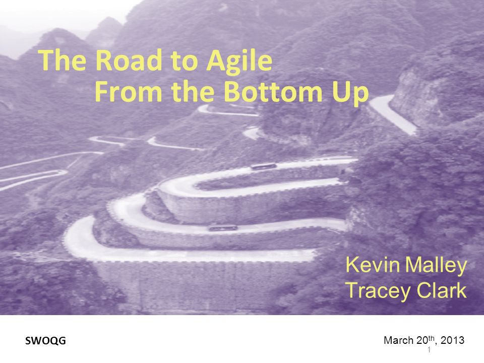 The Road to Agile From the Bottom Up Kevin Malley Tracey Clark 1 March 20 th, 2013 SWOQG