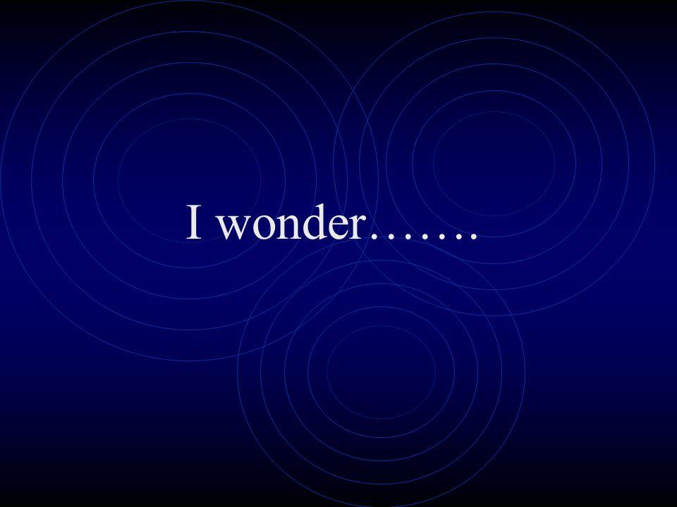 I wonder…….