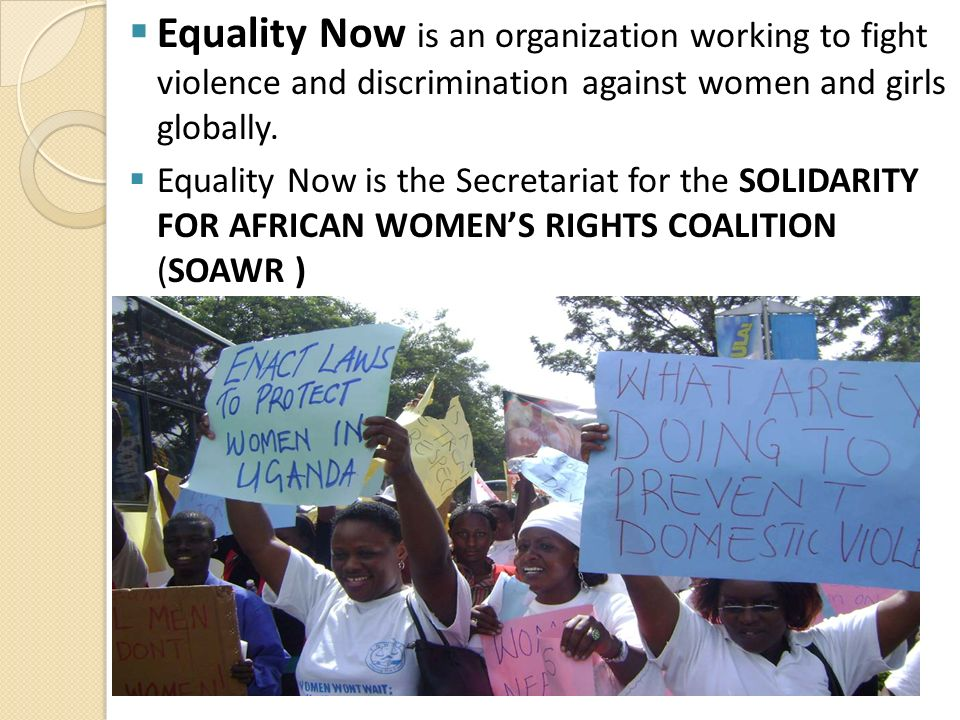 Equality Now is an organization working to fight violence and discrimination against women and girls globally. Equality Now is the Secretariat for the