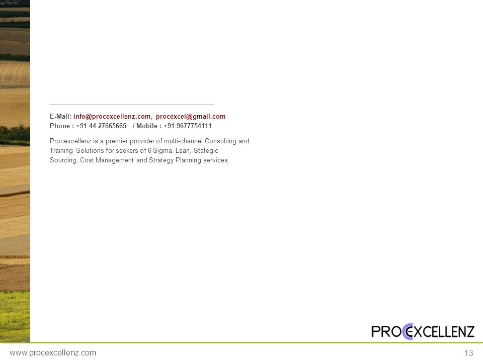 www.procexcellenz.com 13 Procexcellenz is a premier provider of multi-channel Consulting and Training Solutions for seekers of 6 Sigma, Lean, Stategic