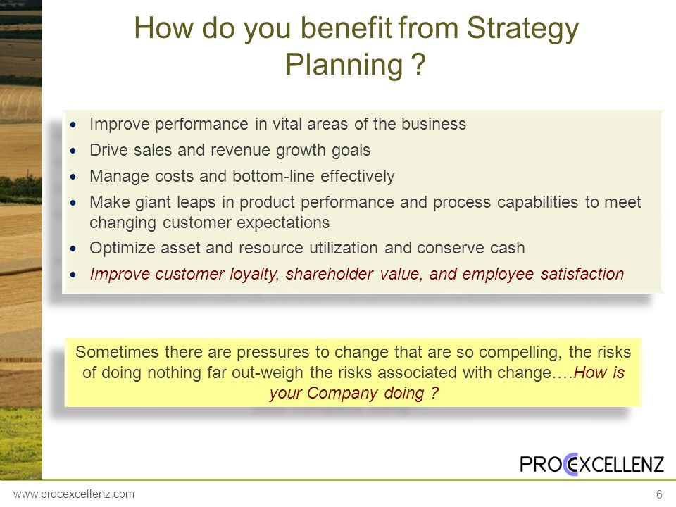 www.procexcellenz.com 6 How do you benefit from Strategy Planning ? Improve performance in vital areas of the business Drive sales and revenue growth