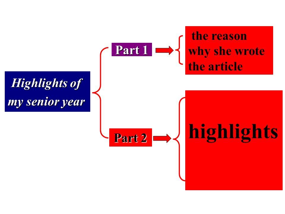 Highlights of my senior year Part 1 Para. 1 Para. 1 Para. 2 Para. 3 Para. 4 Para. 5 the reason why she wrote the article Part 2 Para. 7 Para. 6 Para.