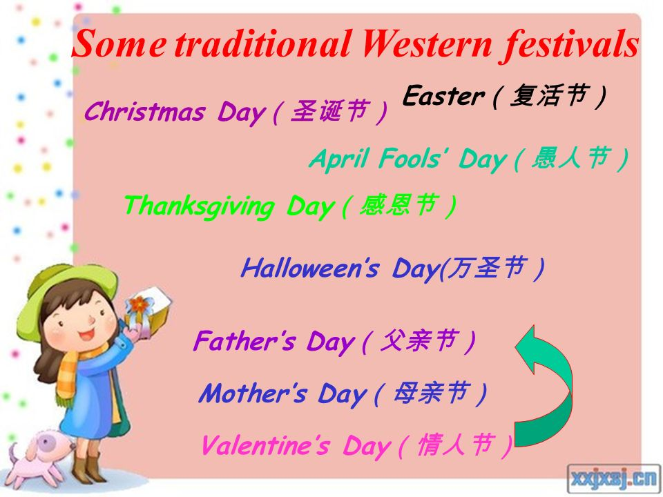 Some traditional Chinese festivals Spring festival Mid-autumn Day Lantern festival ( Dragon Boat Festival ( The Qing Ming Festival( Army Day Party's D