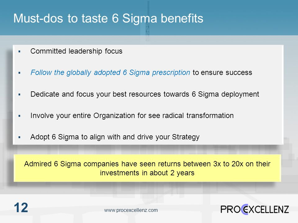 www.procexcellenz.com Must-dos to taste 6 Sigma benefits 12 Committed leadership focus Follow the globally adopted 6 Sigma prescription to ensure succ