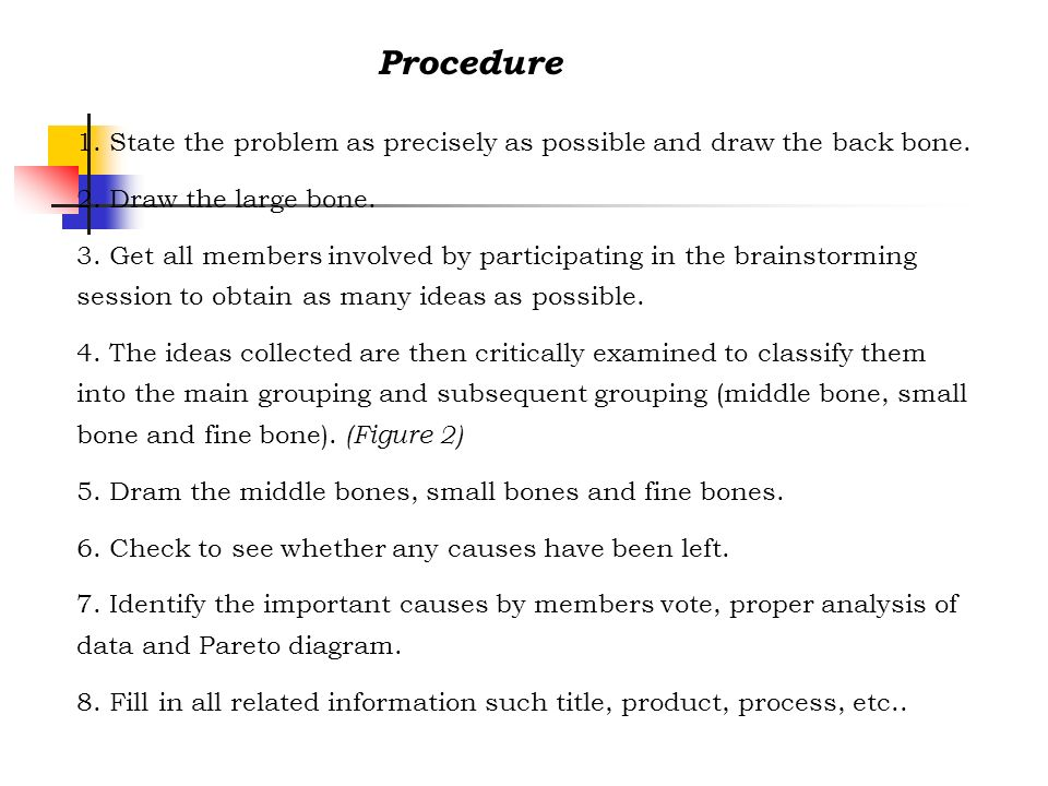 1. State the problem as precisely as possible and draw the back bone. 2. Draw the large bone. 3. Get all members involved by participating in the brai