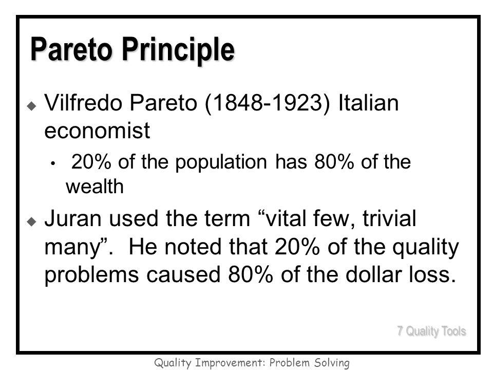 Quality Improvement: Problem Solving Pareto Principle Vilfredo Pareto (1848-1923) Italian economist 20% of the population has 80% of the wealth Juran