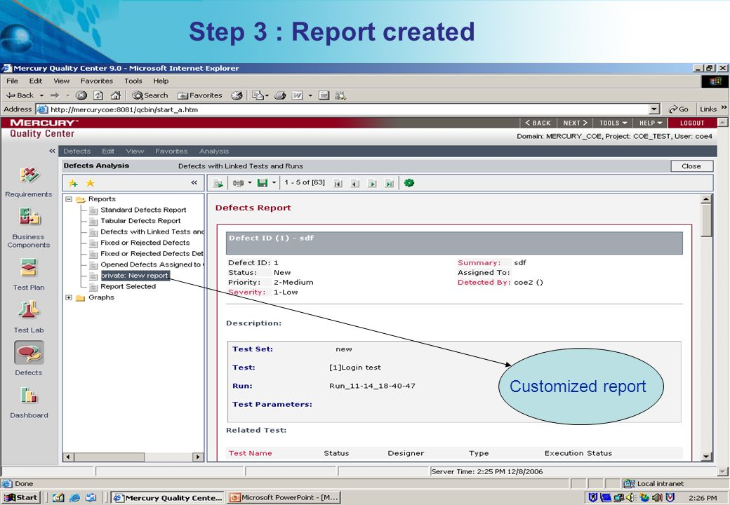 HITS Mercury COE. All rights reserved.Proprietary & Confidential Customized report Step 3 : Report created