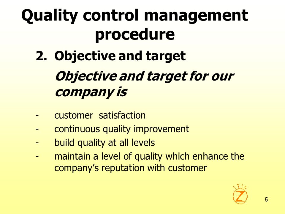 6 Quality control management procedure 3.Implement and operation 3.1 Organization chart