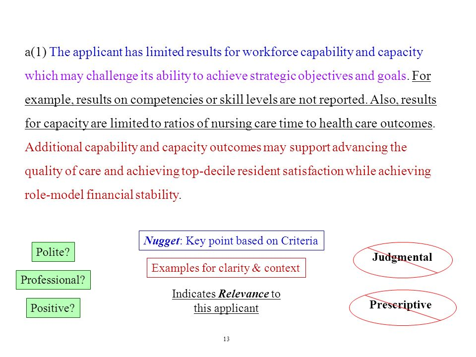 13 Polite? Professional? Positive? JudgmentalPrescriptive Nugget: Key point based on Criteria Indicates Relevance to this applicant Examples for clari