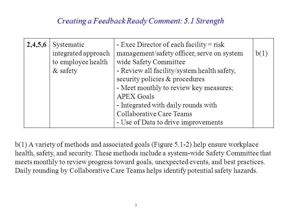 3 Creating a Feedback Ready Comment: 5.1 Strength 2,4,5,6Systematic integrated approach to employee health & safety - Exec Director of each facility =