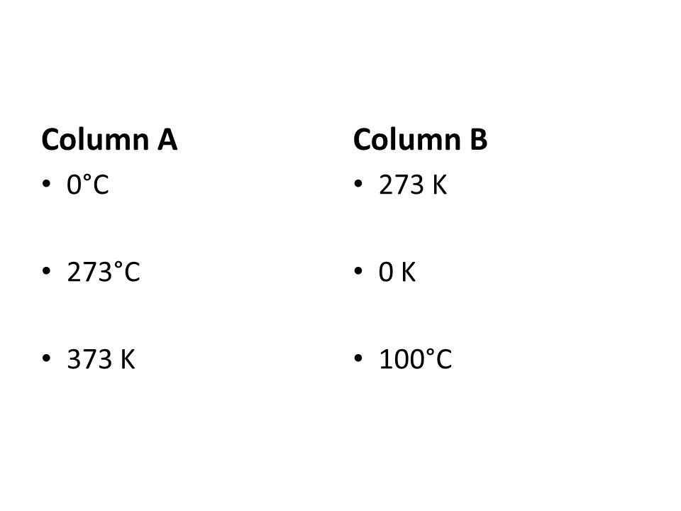 Column A 0°C 273°C 373 K Column B 273 K 0 K 100°C