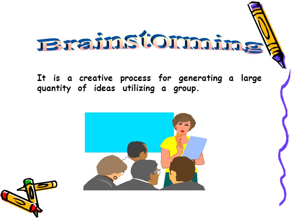 It is a creative process for generating a large quantity of ideas utilizing a group.