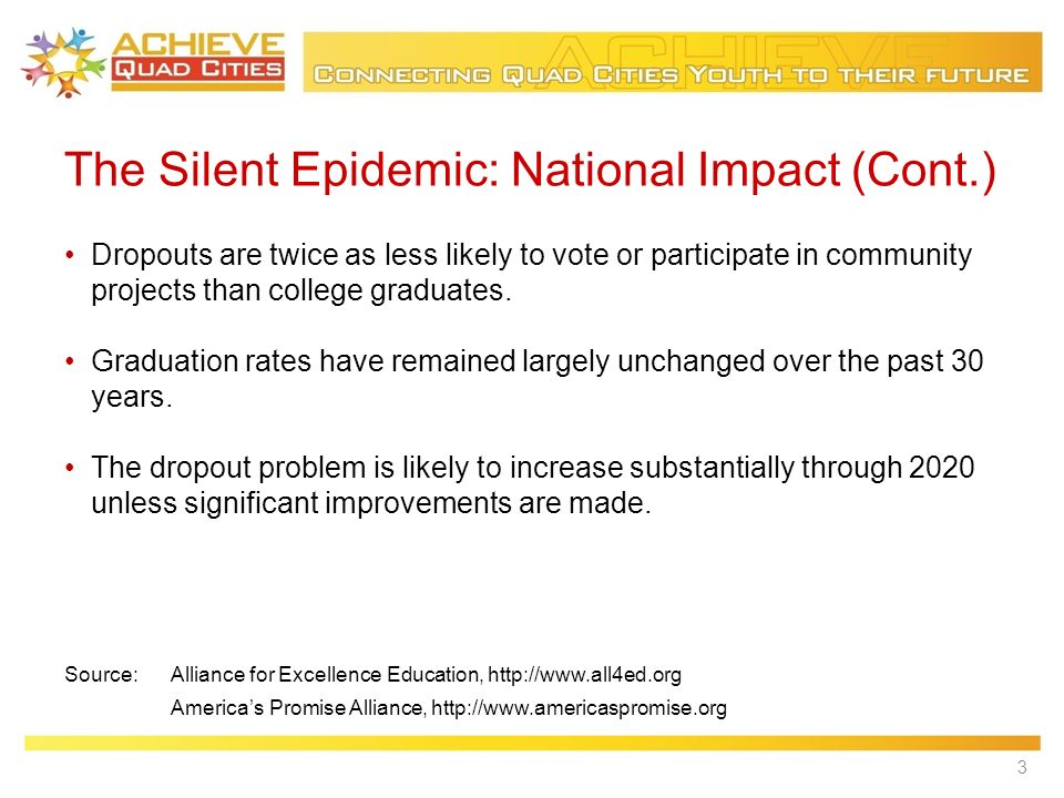 The Silent Epidemic: National Impact (Cont.) Dropouts are twice as less likely to vote or participate in community projects than college graduates.