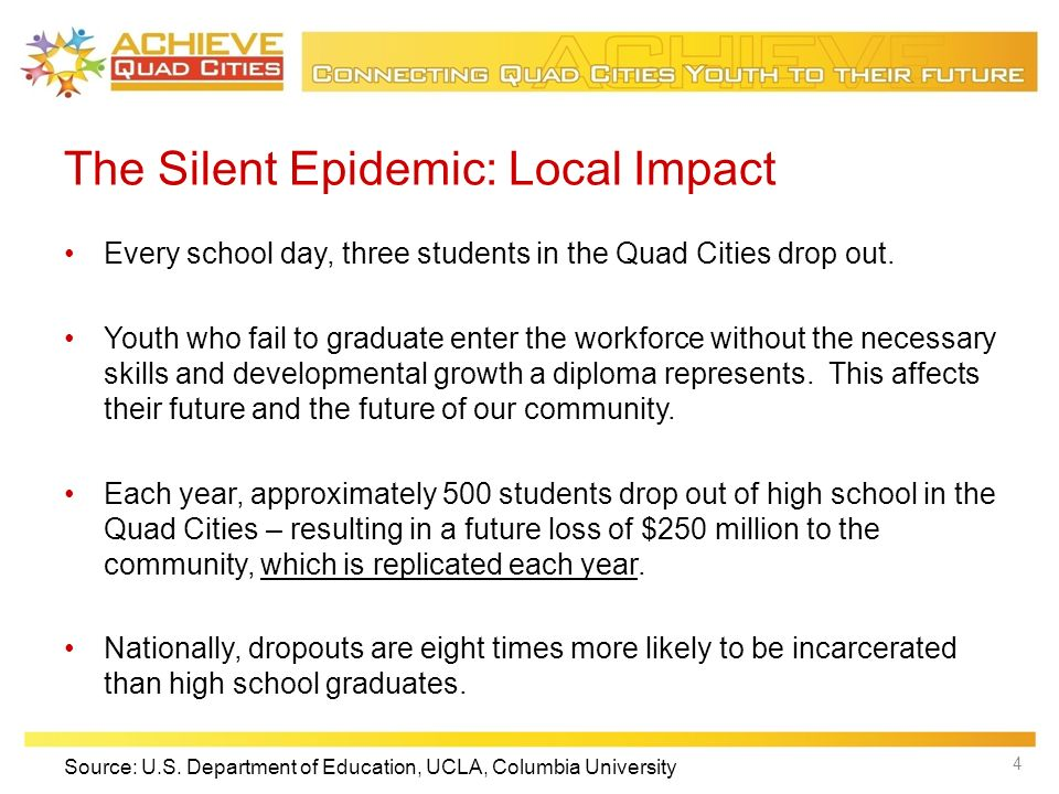 The Silent Epidemic: Local Impact Every school day, three students in the Quad Cities drop out.