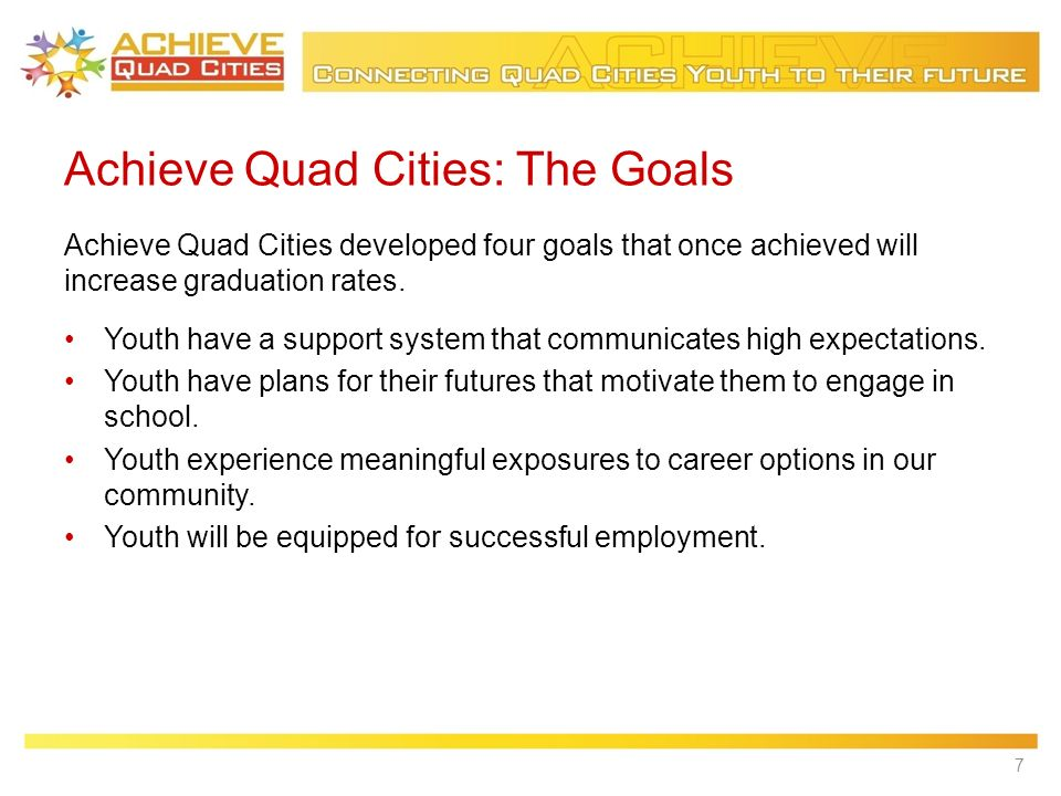 Achieve Quad Cities: The Goals Youth have a support system that communicates high expectations.