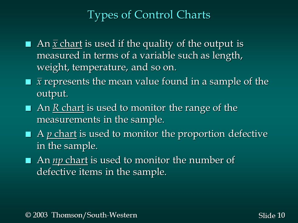 10 Slide © 2003 Thomson/South-Western Types of Control Charts n An x chart is used if the quality of the output is measured in terms of a variable suc