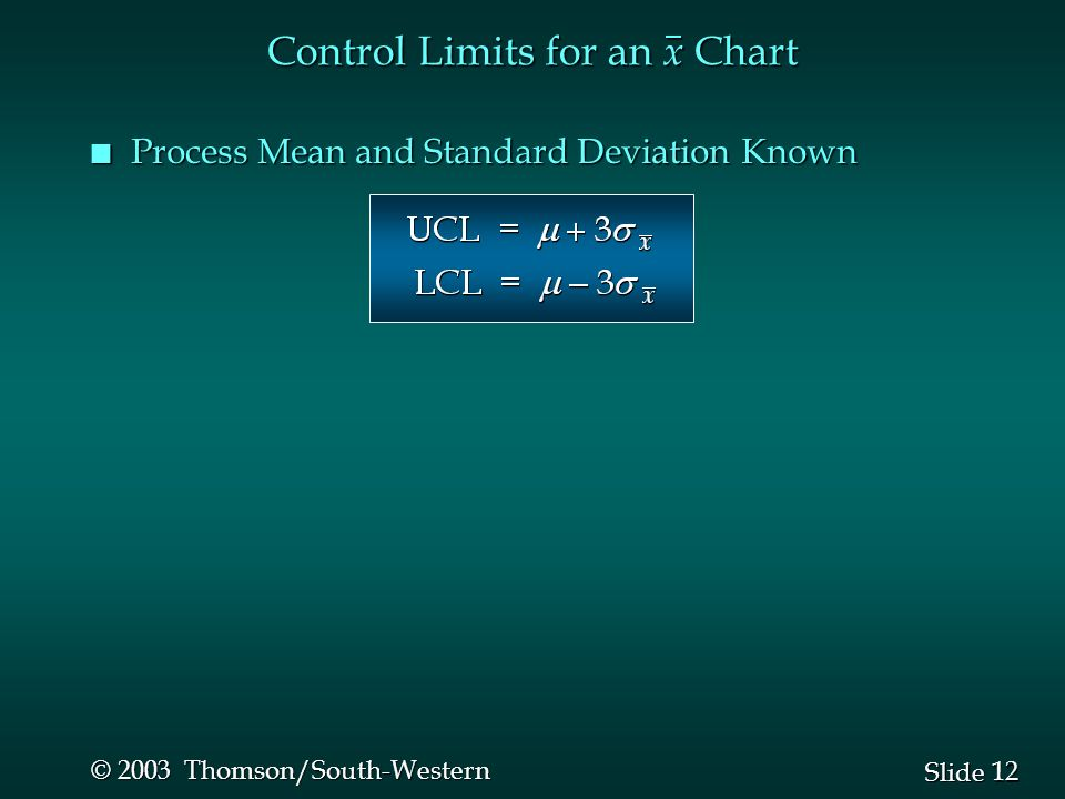 12 Slide © 2003 Thomson/South-Western Control Limits for an x Chart n Process Mean and Standard Deviation Known
