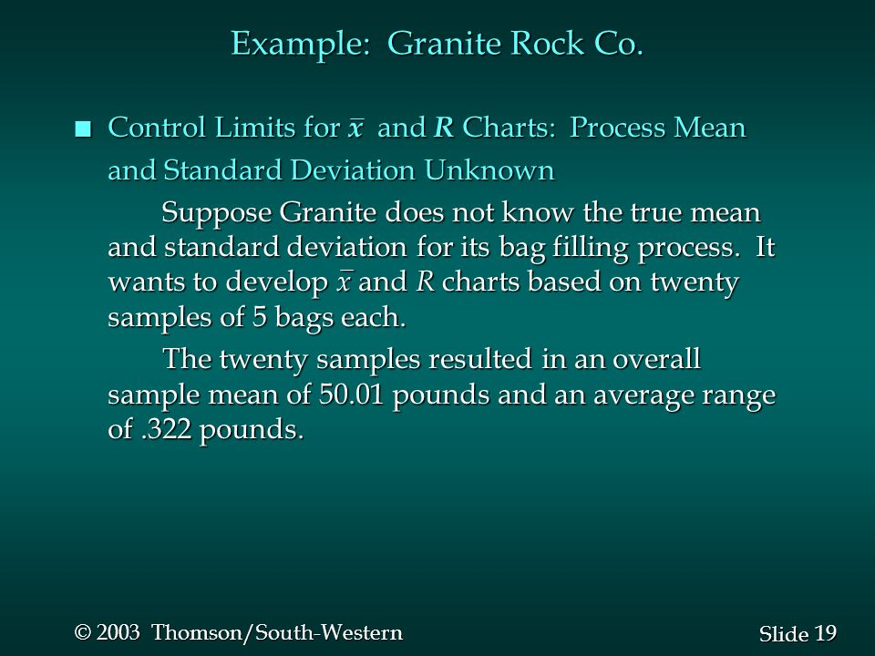 19 Slide © 2003 Thomson/South-Western Example: Granite Rock Co. n Control Limits for x and R Charts: Process Mean and Standard Deviation Unknown Suppo