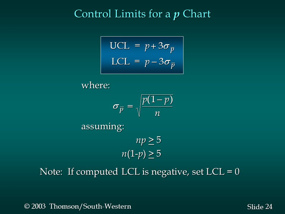 24 Slide © 2003 Thomson/South-Western Control Limits for a p Chart where:assuming: np > 5 np > 5 n (1- p ) > 5 n (1- p ) > 5 Note: If computed LCL is