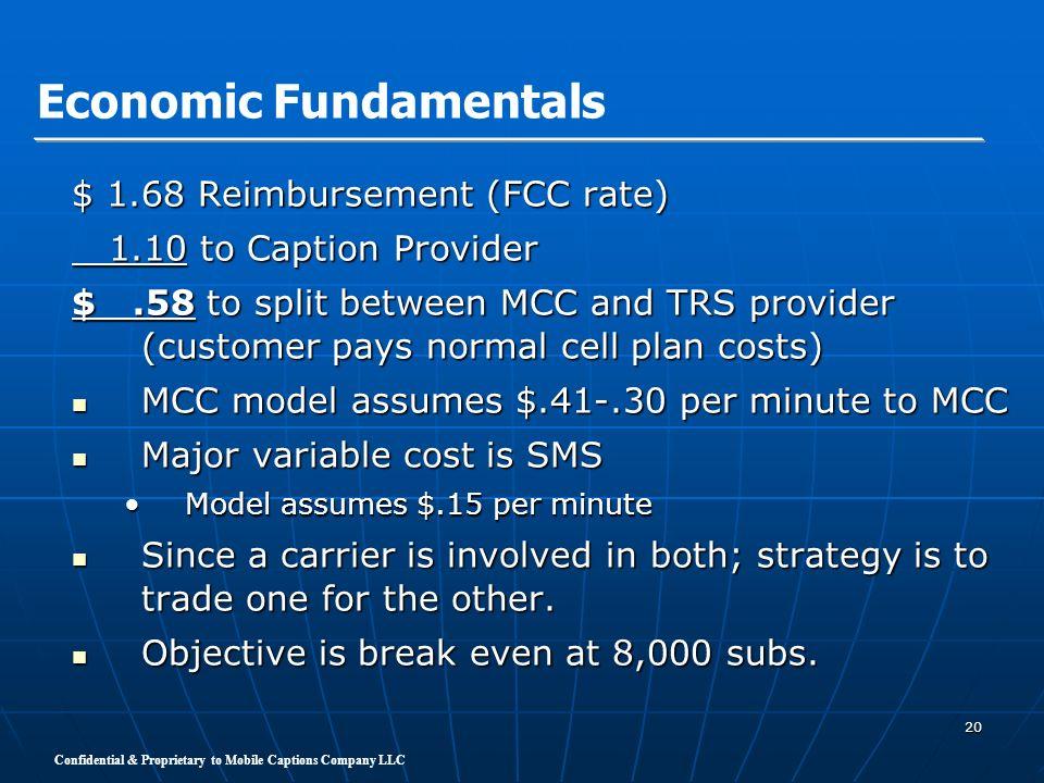 Confidential & Proprietary to Mobile Captions Company LLC 20 $ 1.68 Reimbursement (FCC rate) 1.10 to Caption Provider 1.10 to Caption Provider $.58 to
