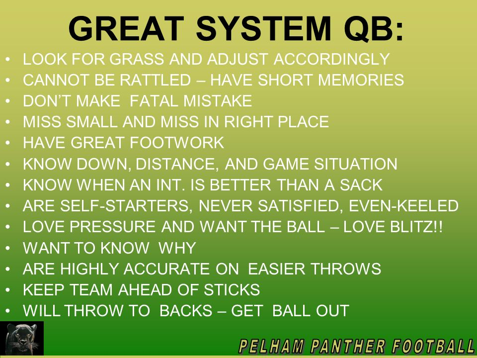 QB OFFSEASON PREPARATION WATCH GAME FILM & SEMINAR DVDs WATCH HIGHLIGHTS OF GREAT QB DRAW COVERAGES/PLAYS ON BOARD I.D.