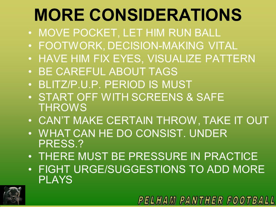 PRACTICE PRESSURE ON QB DO YOU LIKE SURPRISES IN A GAME.