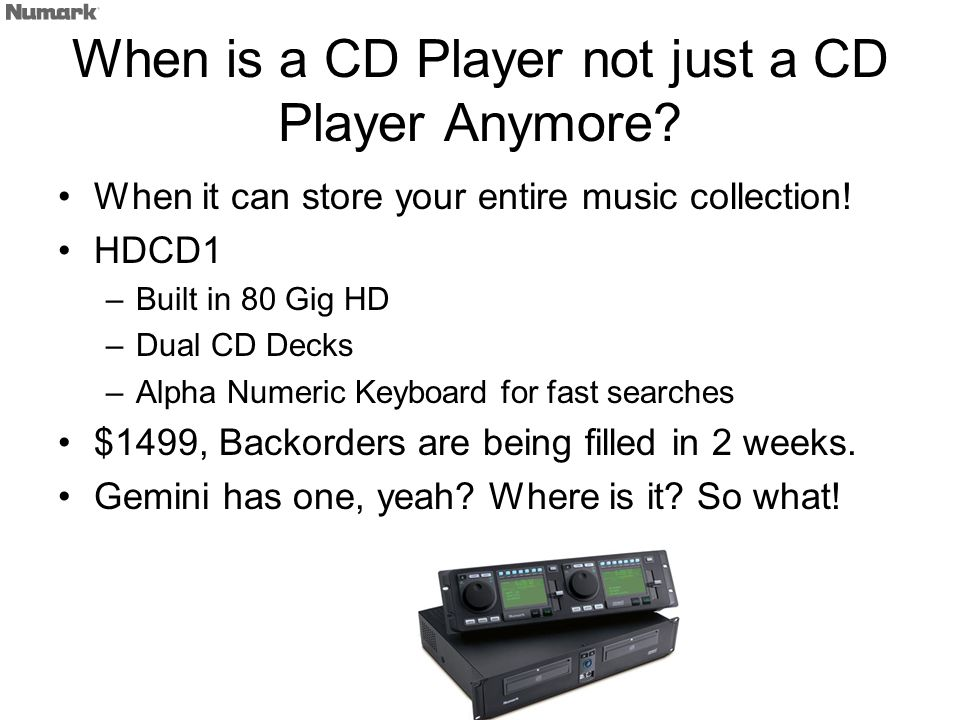 When is a CD Player not just a CD Player Anymore. When it can store your entire music collection.