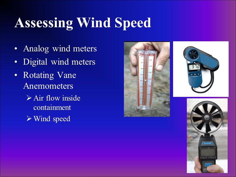 Assessing Wind Speed Analog wind meters Digital wind meters Rotating Vane Anemometers Air flow inside containment Wind speed